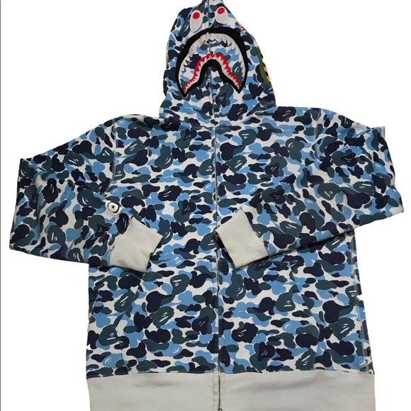 5ed1008c Bape Sweaters   Mens Authentic Abc Full Zip Shark Hoodie   Poshmark